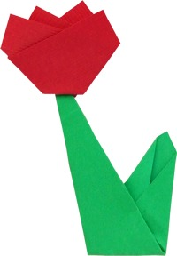 flat model of an origami tulip