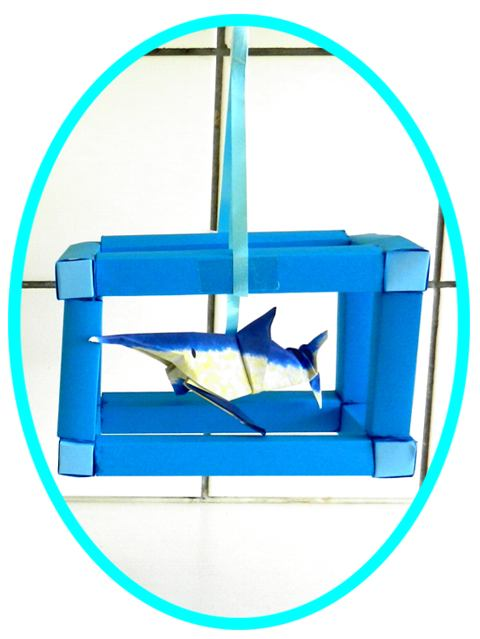 Shark in an aquarium clip art