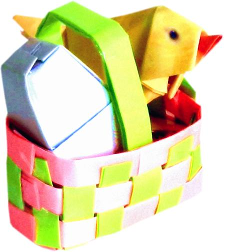 Baby chicken in an easter basket