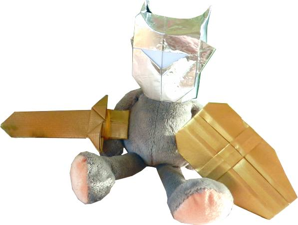 Toy mouse with Origami knight outfit