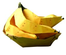 bowl with origami bananas