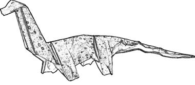 line drawing of an origami Brachiosaurus