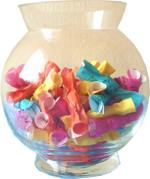 origami candy in a vase