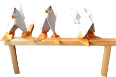 clipart of three funny origami chickens