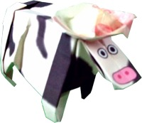 origami cow with a paper hat