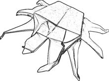 clipart drawing of an origami crab