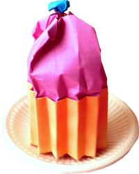clipart of a pink origami cupcake