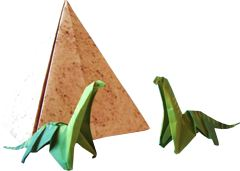 clipart picture of origami dinosaurs and a large piramid