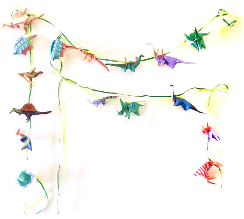 Origami Dinos on a string