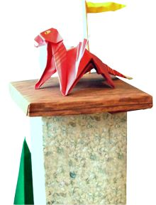 clipart of a red origami dragon standing on top of a medieval tower