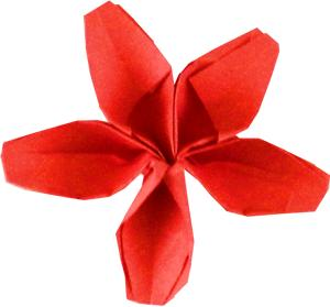 Origami red Flower with five petals