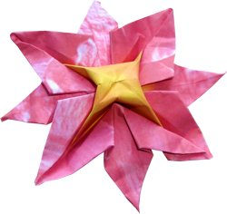 cute pink origami flower with eight petals