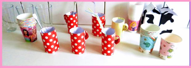 Cute paper cups and mugs