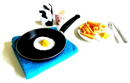 Origami fried egg and french fries