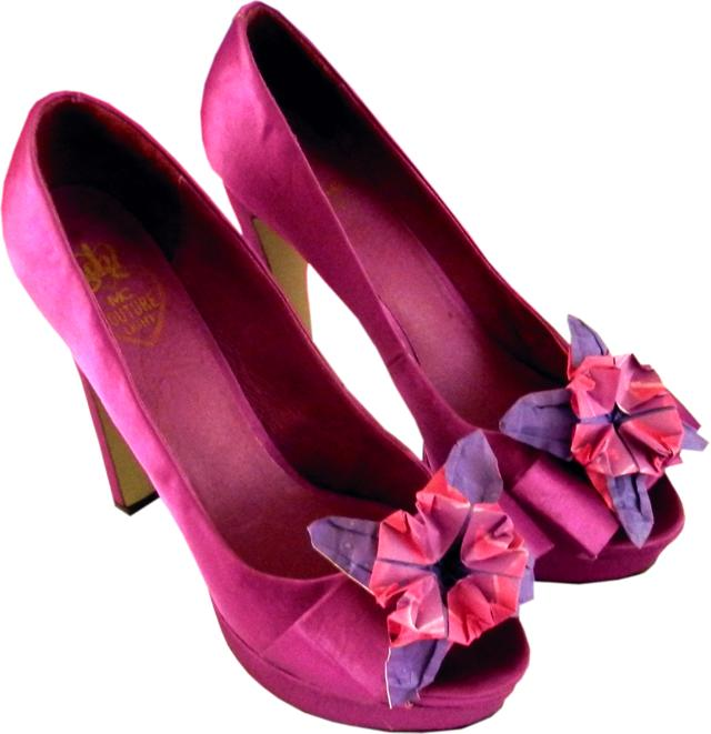 Shoes with Origami flower decoration