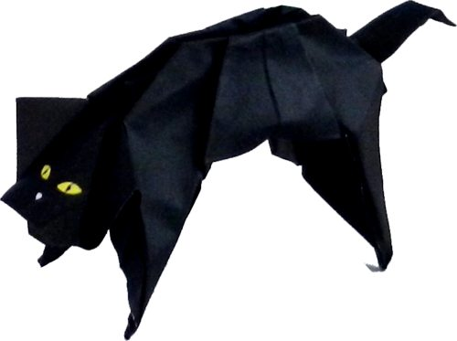 origami black cat with yellow eyes