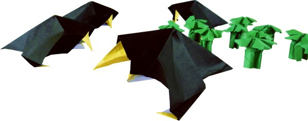 origami crows of dead