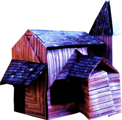 origami wooden haunted house