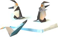 two origami penguins standing on ice at the ocean
