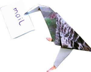 origami pigeon with mail