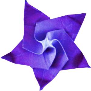 Origami purple Flower with five petals