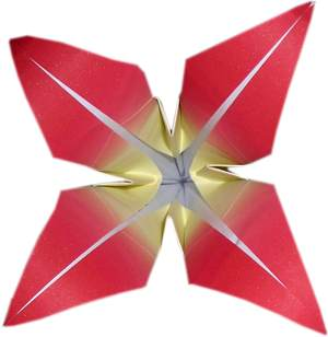 red origami flower with four petals