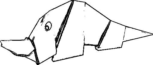 line drawing of an origami rhino