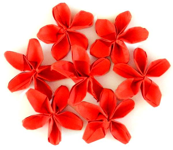 Red Origami Flower Circle