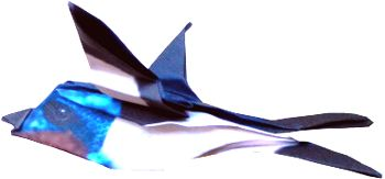 clipart of a flying origami swallow