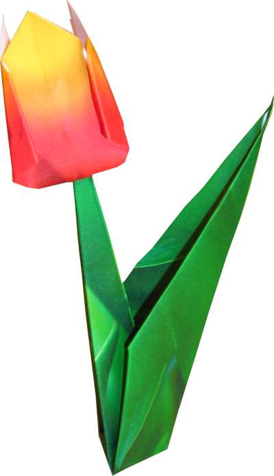 clipart of an origami tulip with stand