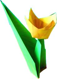 yellow origami tulip with stand