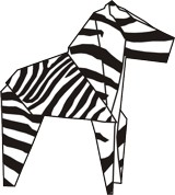 drawing of an origami zebra