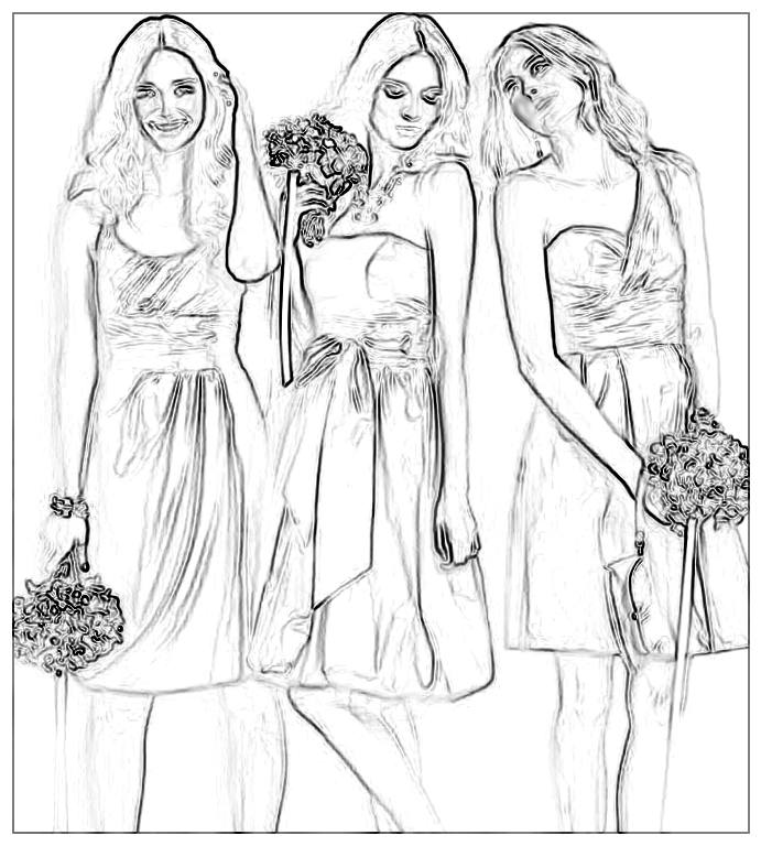 Wedding Fashion Girls Colouring Picture