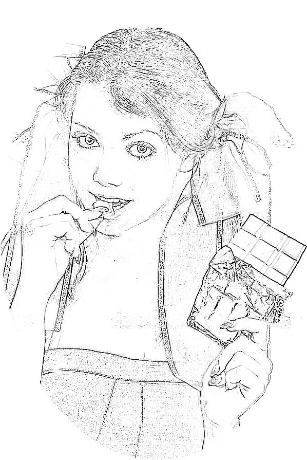 colouring picture of a girl with a chocolate bar