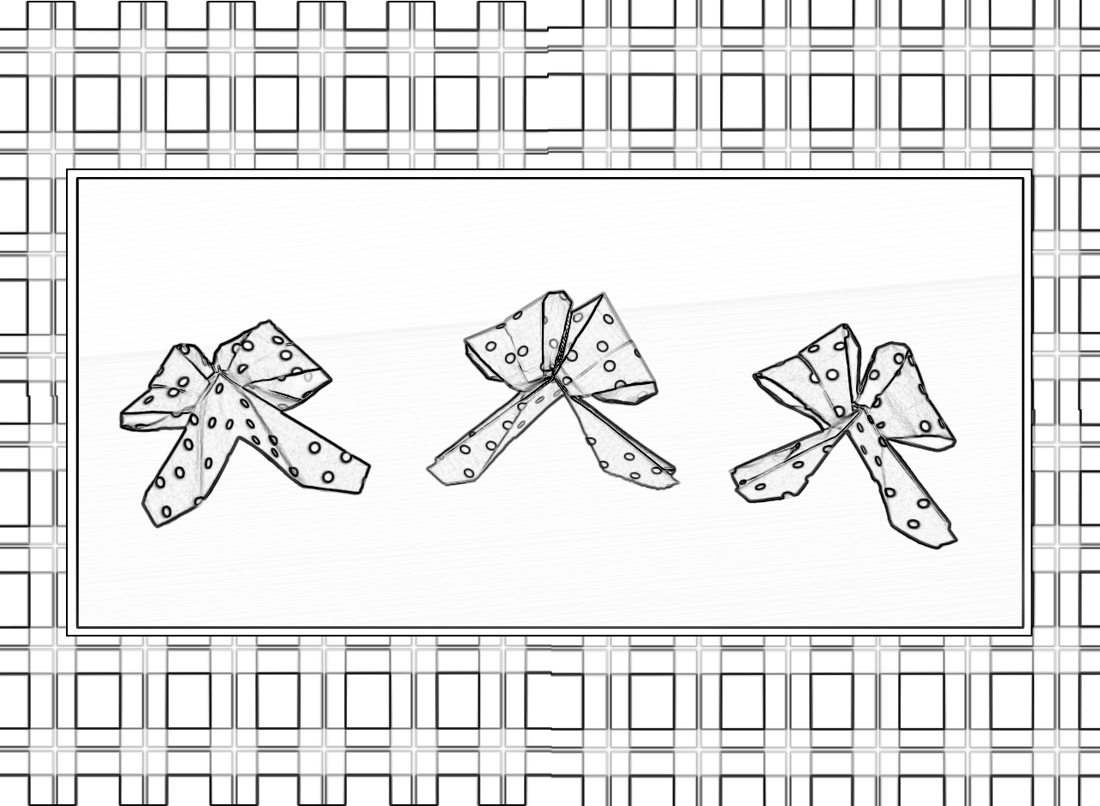 Colouring picture of cute origami polkadot bows