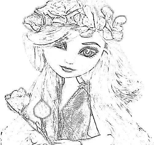 Girl with flower crown coloring picture