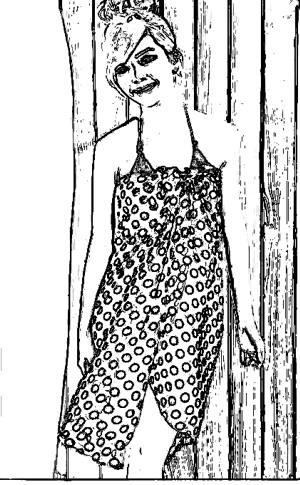 Beach towel dress coloring picture