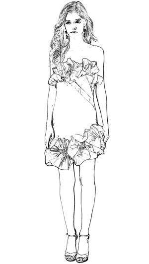 Cocktail dress coloring picture