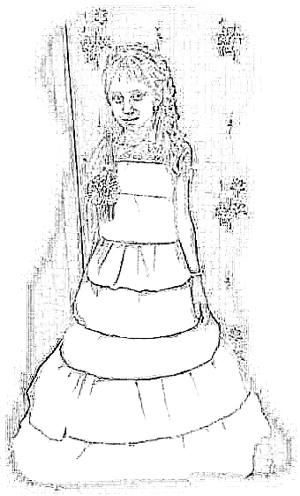 Rainbow dress coloring picture