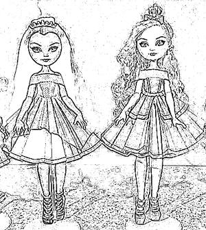 Dolls with paper dress coloring picture