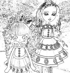 Dolls in a paper dress coloring picture