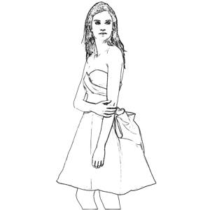 Girl in a dress coloring picture
