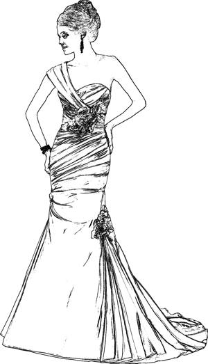 Wedding gown coloring page