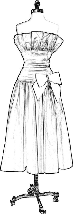 Dress with large bow coloring picture