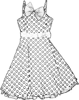 Dress with paper bow coloring picture