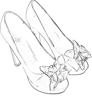 Shoes with paper flower coloring picture