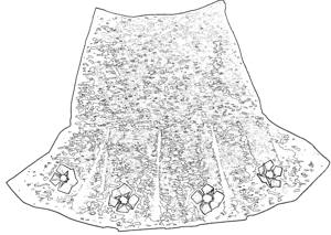 Skirt with flowers coloring picture
