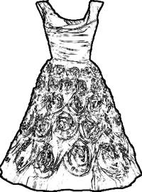 Vintage dress coloring picture