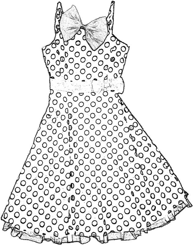 Polka dot dress coloring picture