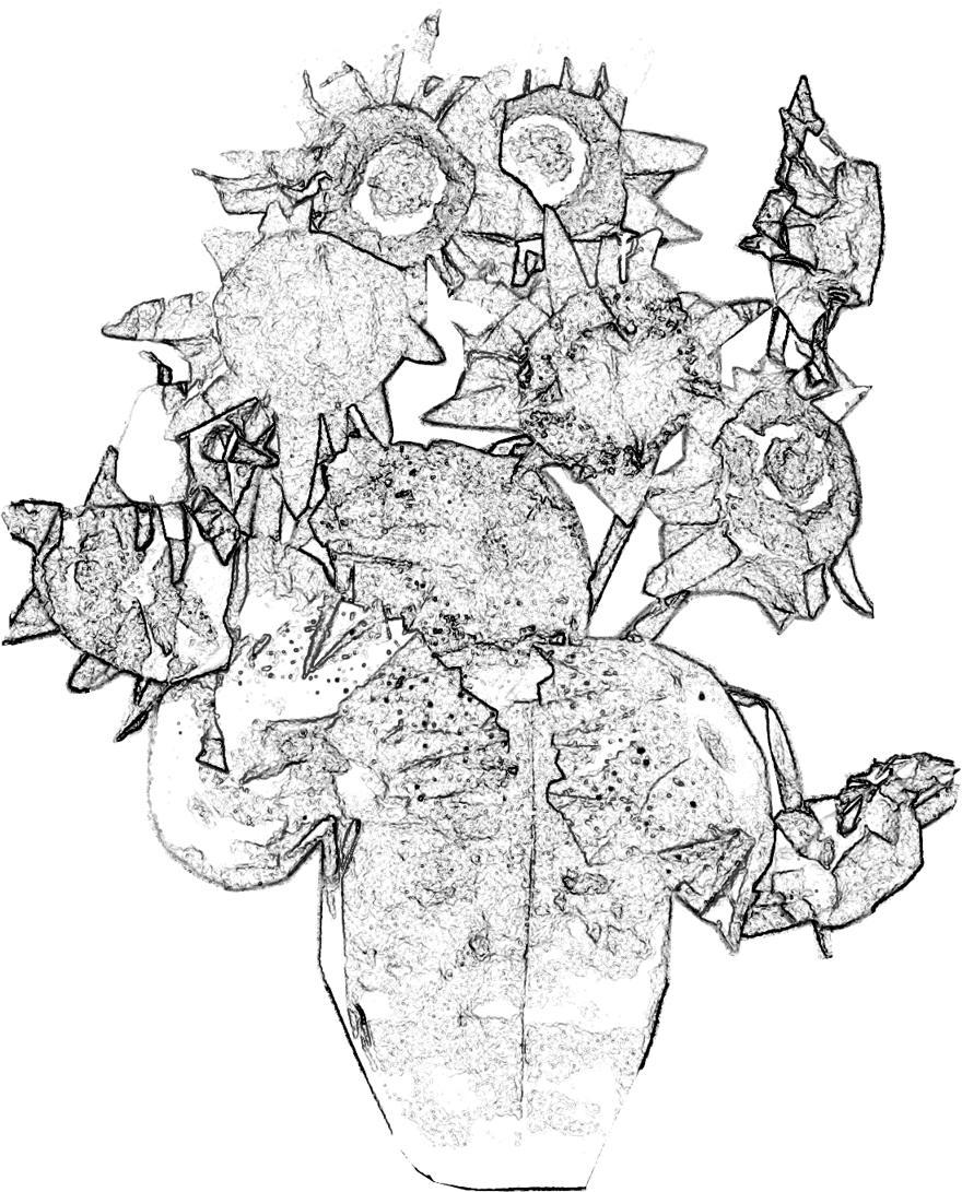 Kleurplaten Zonnebloemen.Joost Langeveld Origami Pagina